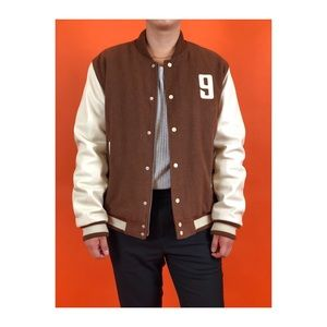 TOPMAN VARSITY JACKET WITH LEATHER SLEEVES